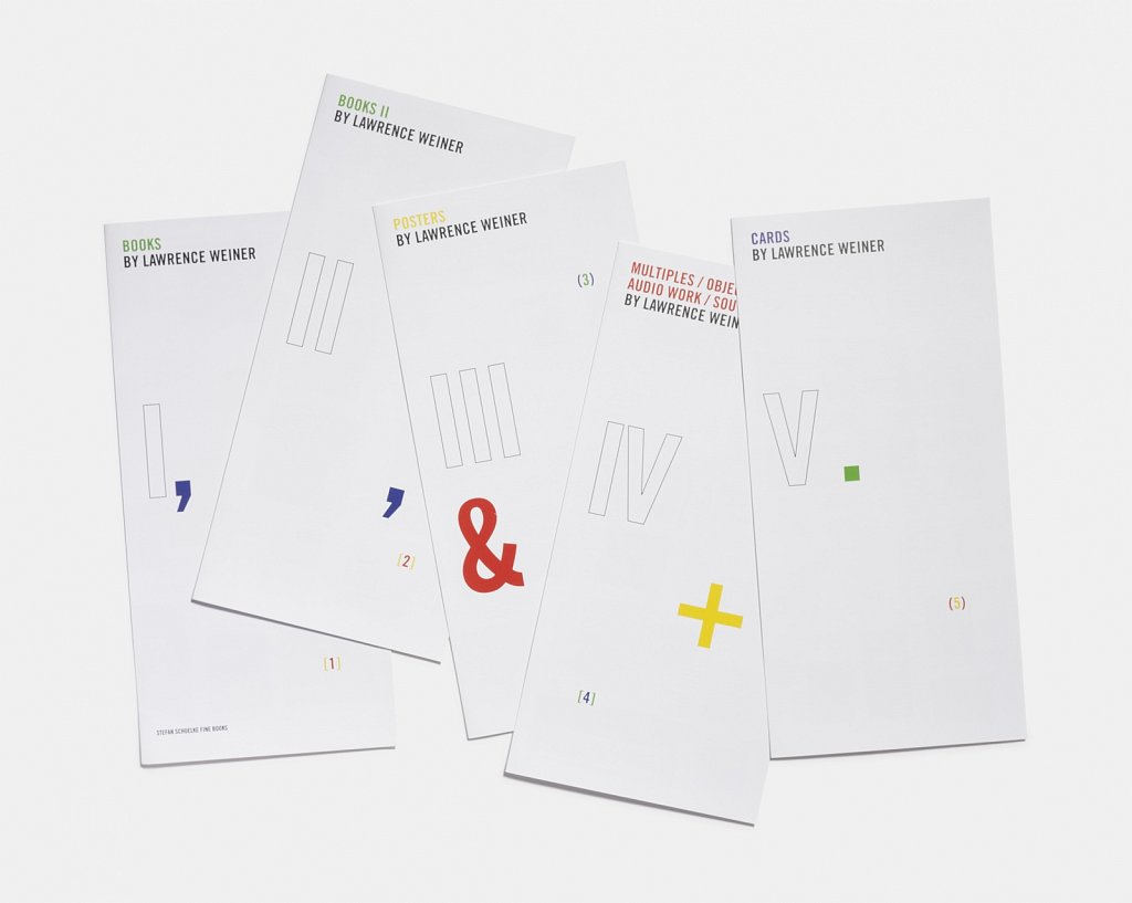 books, posters, multiples / objects / audio work / souvenirs, cards by lawrence weiner